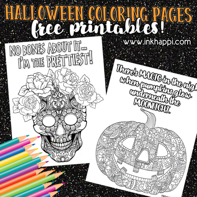 Halloween coloring pages with fun sayings! #freeprintables #halloween #pumkin #skull #coloring #halloweenquotes