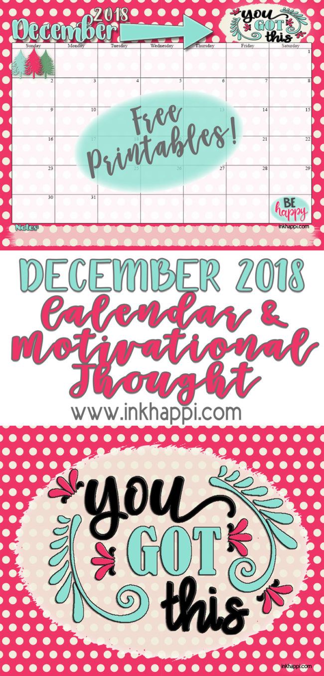 December 2018 Calendar and printable thought from inkhappi. #freeprintable #calendar