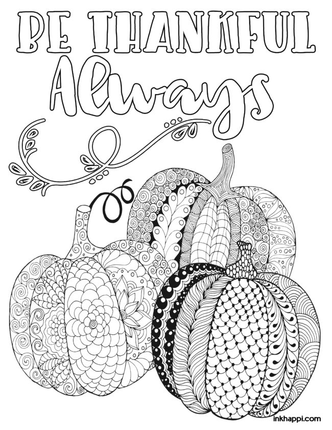 Thanksgiving Coloring Pages For Fun Or Decor Inkhappi