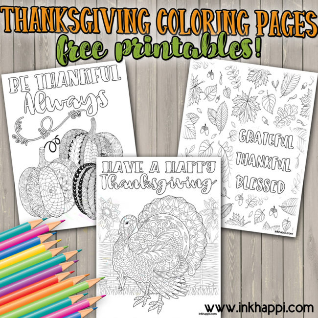 Thanksgiving coloring pages for fun or decor! #freeprintables #coloringpages #thanksgiving #gratitude #thankkful #blessed