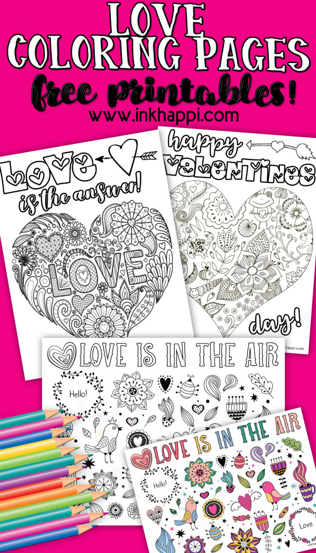 Love coloring pages with lots of hearts and flowers. Great for valentines day! #freeprintables #love #valentines #coloringpages