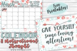 March 2019 Calendar and another message about self love. #freeprintables #calendar #love #selflove