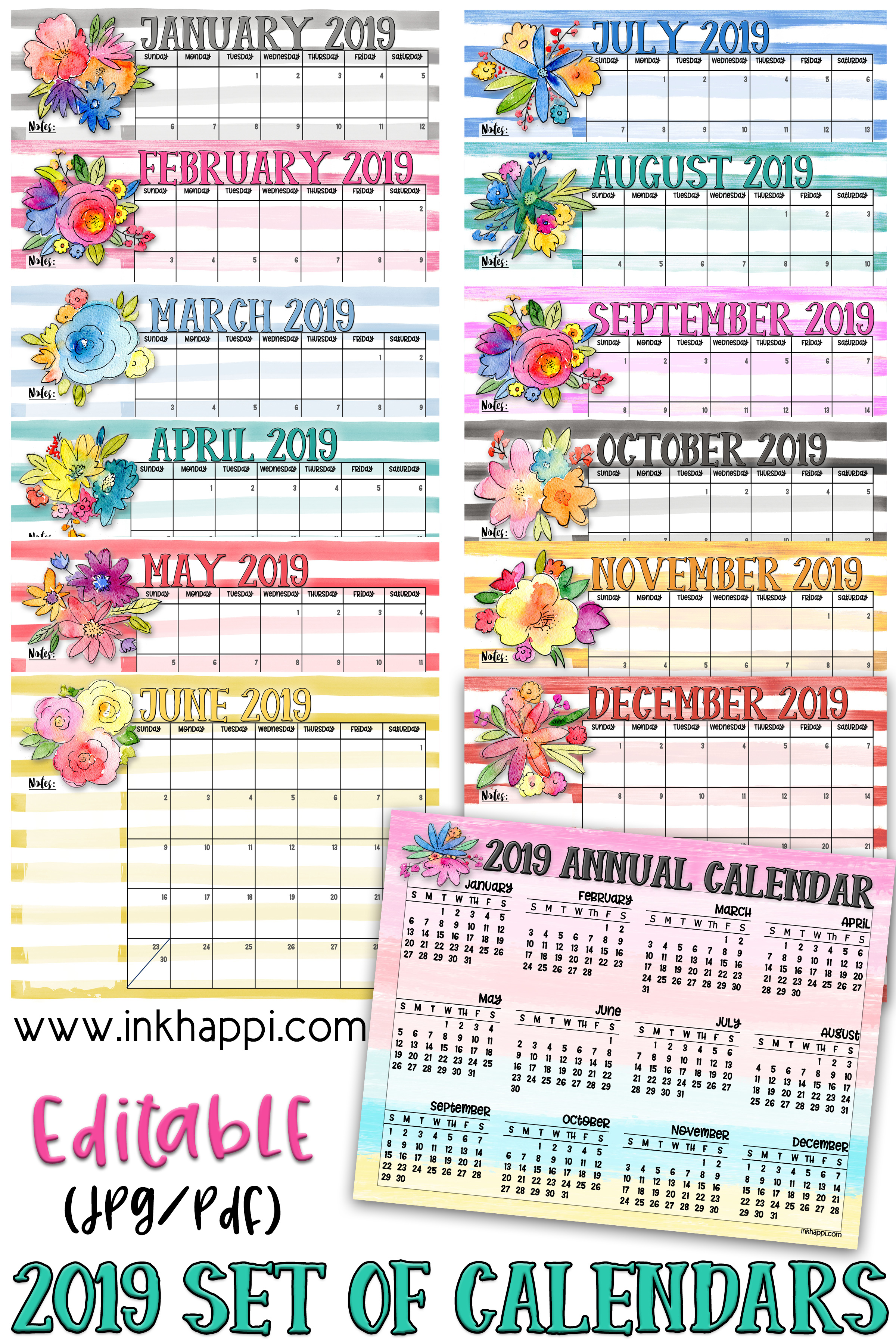 2019 annual and monthly calendars from inkhappi.