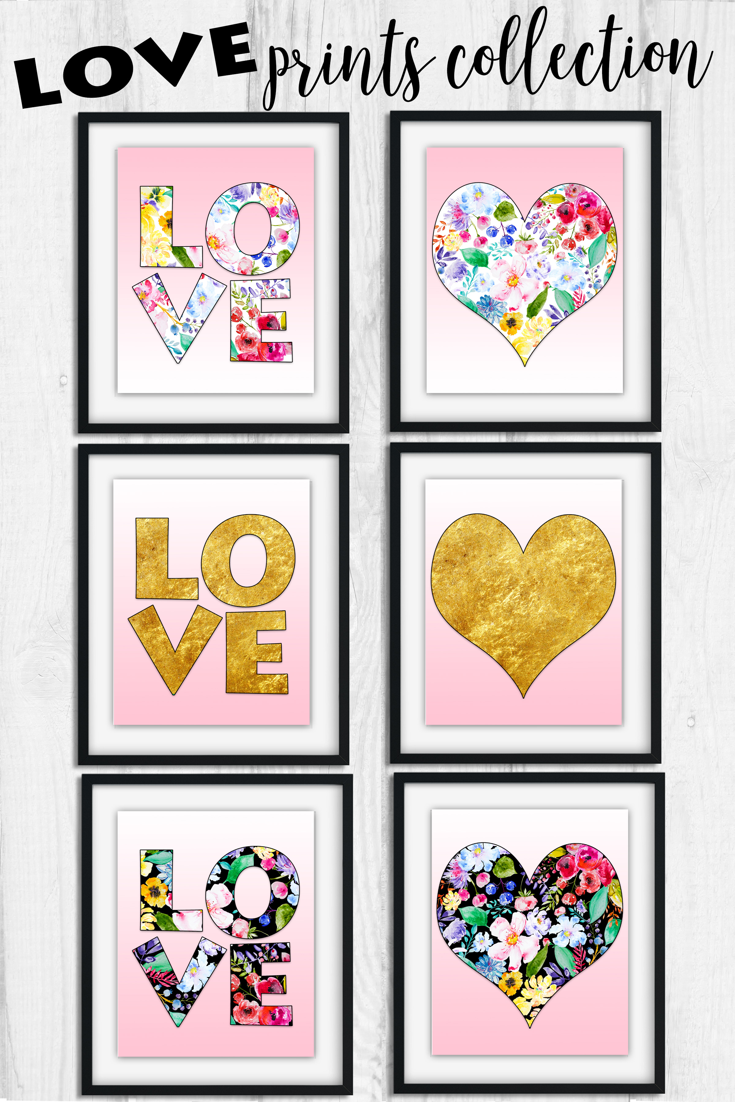 LOVE and heart framed set of prints in 3 color options