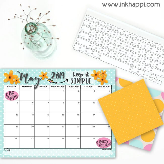 May 2019 Calendar and a simple message! - inkhappi