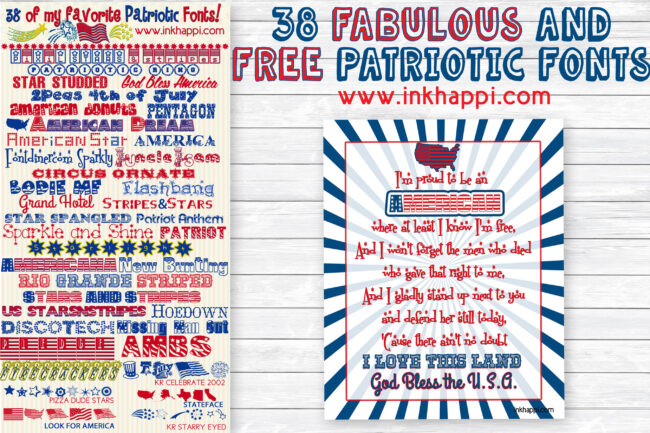 38 of the best free patriotic fonts with download links at inkhappi.com along with a free printable to go with it. #freefonts #patriotic