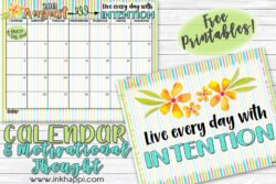 August 2019 Calendar and a thought about intention. #freeprintables #calendar #motivationalthought