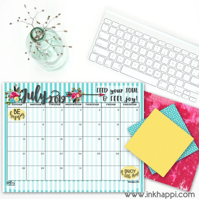 July 2019 calendar and a motivational thought! #calendar #freeprintables #feedyoursoul