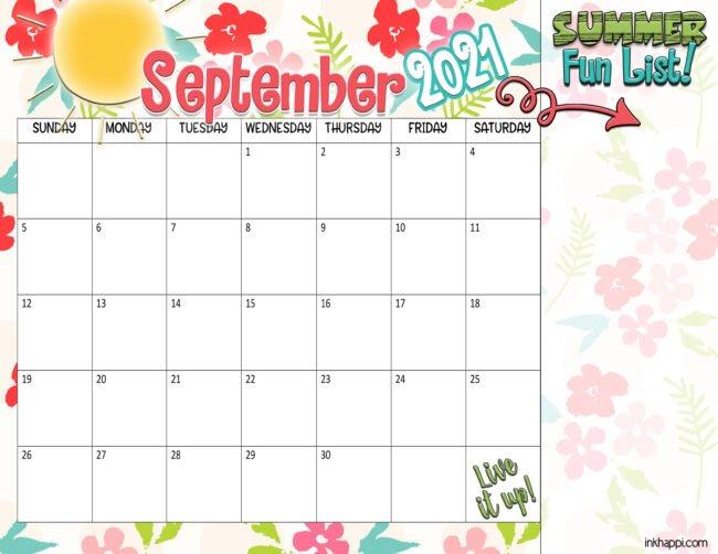 Summer planning calendars June through September 2021. Free printables!