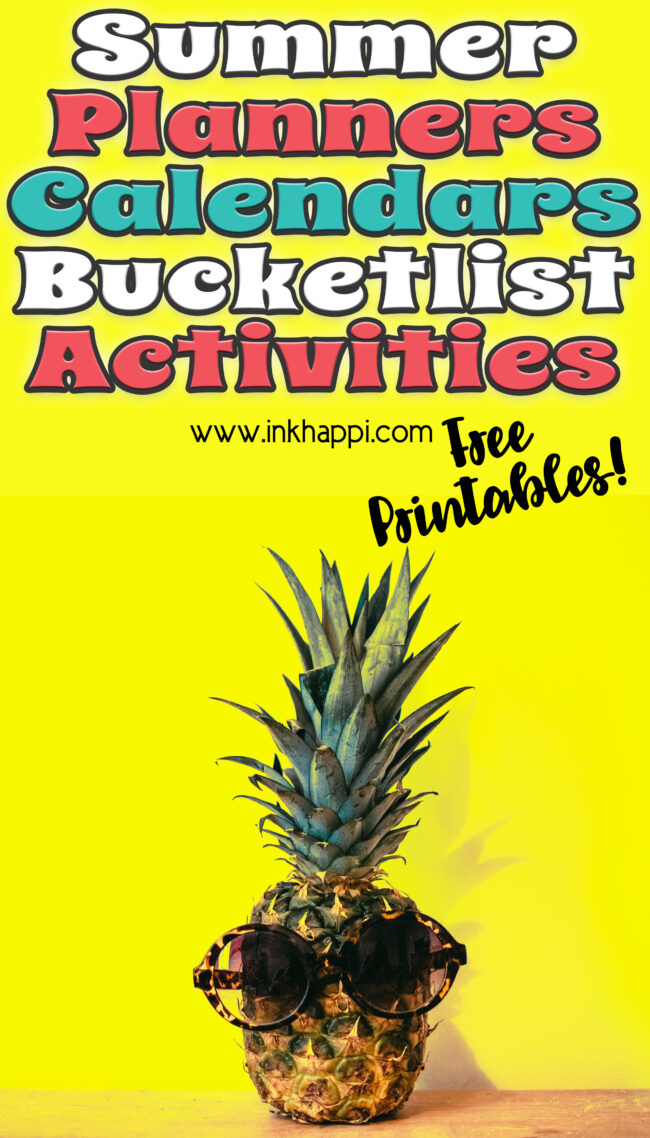 Summer planning calendars, bucket list and activities planner with June through September 2021. Free printables!