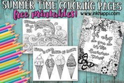 Set of three summer time coloring pages #freeprintable #summer #coloringpages