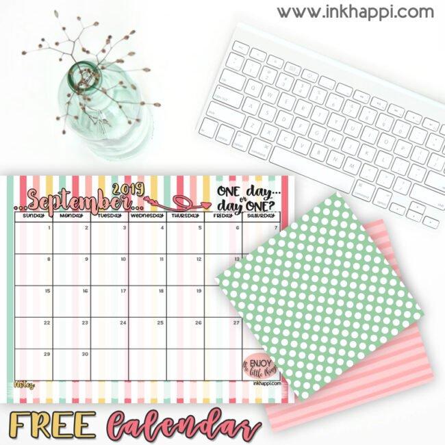 September 2019 Calendar #freeprintable #calendar