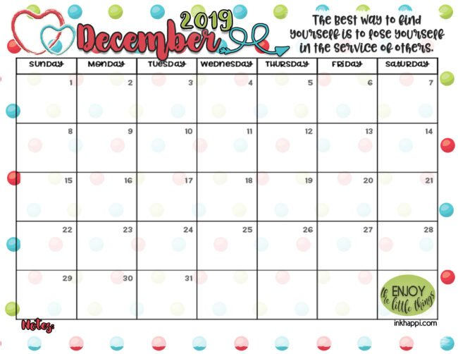 December 2019 calendar from inkhappi. #calendar #freeprintable #service