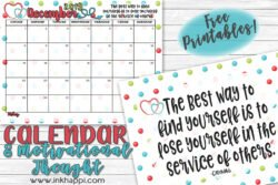 December 2019 calendar and a motivational thought about service. #calendar #freeprintable #service