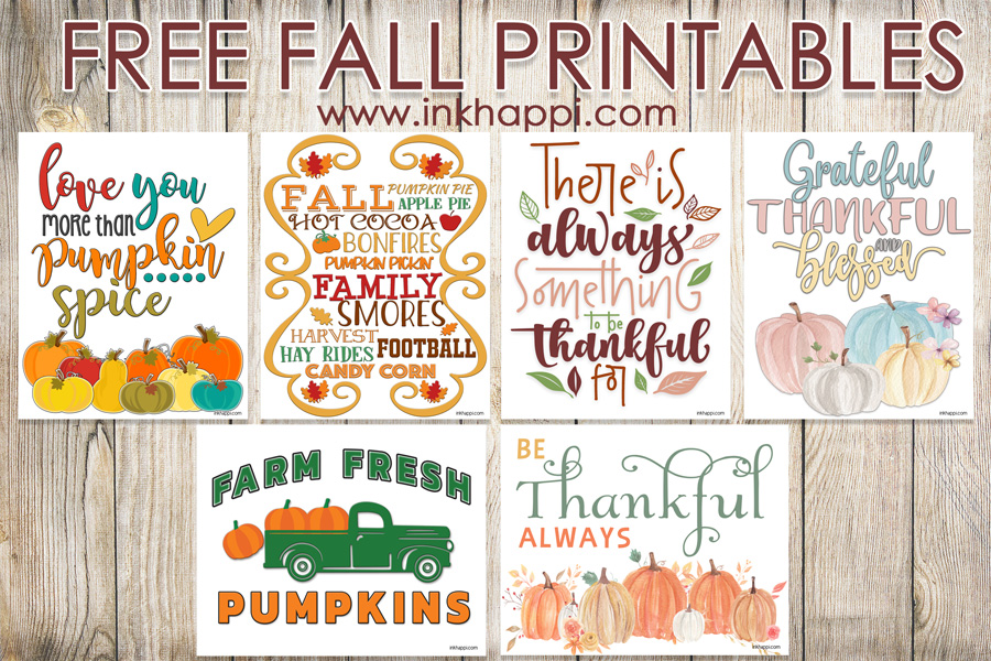 Six free fall printables... pumpkins and gratitude #freeprintables #fall #pumpkins #gratitude #thanksgiving