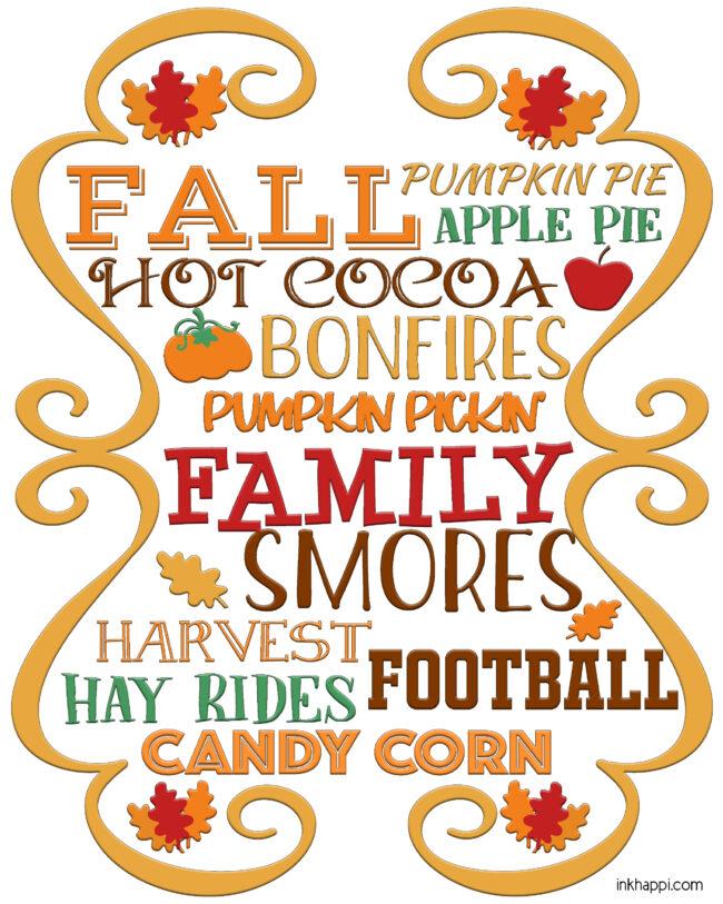 Fall things free printable #fall #freeprintable