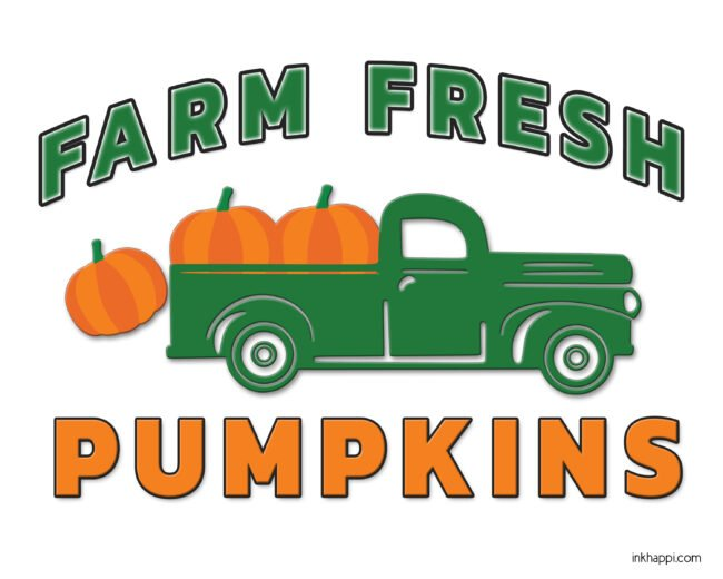 Farm fresh pumpkin truck free printableThere is always something to be thankful for #fall #pumpkins #freeprintable