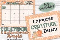 November 2019 Calendar and print fron inkhappi #calendar #freeprintable #gratitude