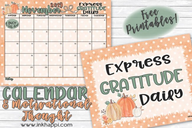 November 2019 Calendar and print fron inkhappi #calendar #freeprintable #gratitude