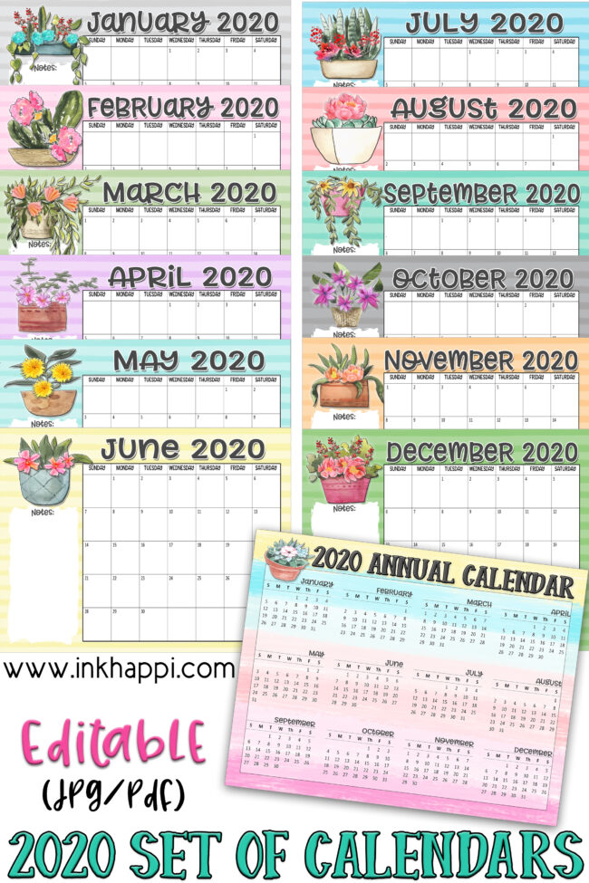 2020 annual calendars  set from inkhappi #printablecalendars #2020