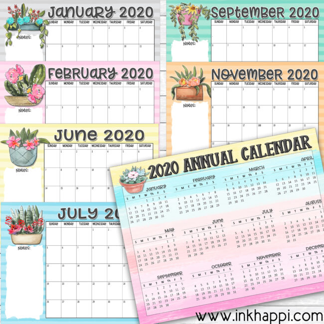Colorful 2020 annual calendars  set from inkhappi #printablecalendars #2020