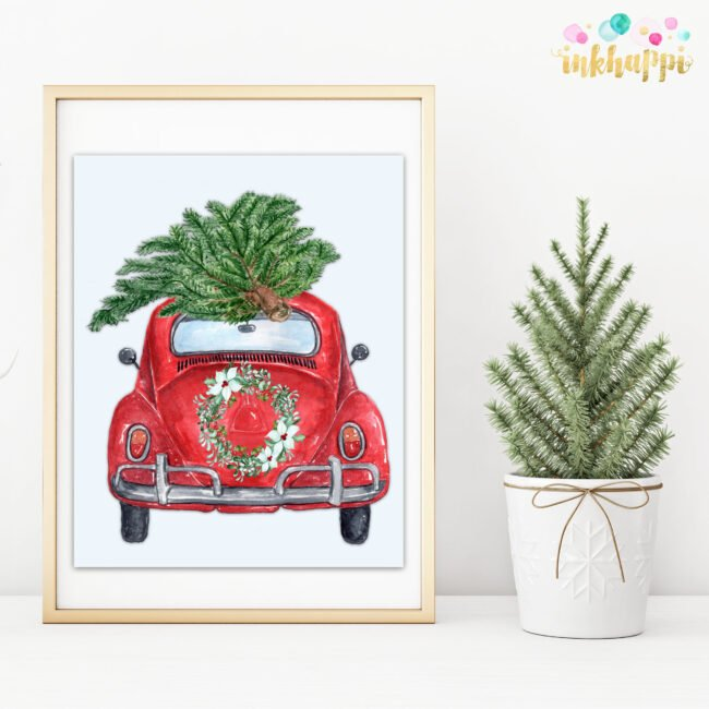 christmas car wreath tree photo