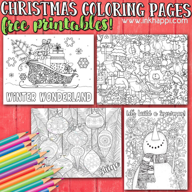 Christmas coloring pages from inkhappi #freeprintables #coloringpages