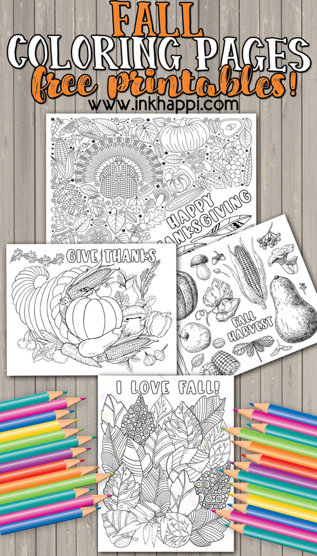 fall coloring pages from inkhappi #freeprintables #coloringpages