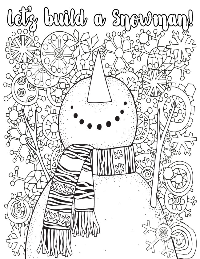 Holiday coloring pages, snowman. #coloring #christmas