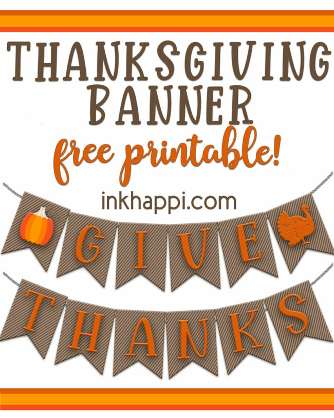 Free Printable Thanksgiving Banners for decorating #thanksgiving #givethanks #banner #freeprintable
