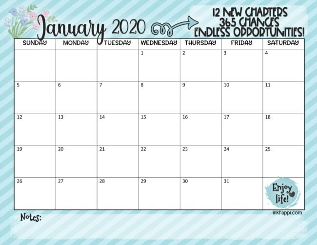 January 2020 calendar #freeprintable #calendar