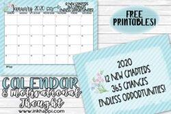 January 2020 calendar motivational print to get 2020 off to a great start #freeprintable #calendar