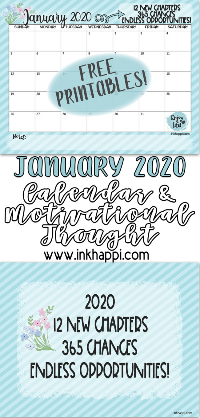 January 2020 calendar motivational print to get 2020 off to a great start #freeprintable #calendar
