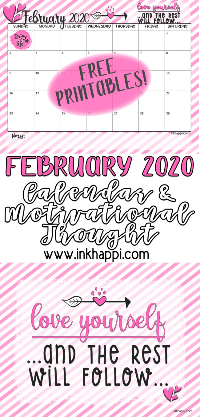February 2020 Calendar with a motivational thought #freeprintable #calendar #motivationalthought