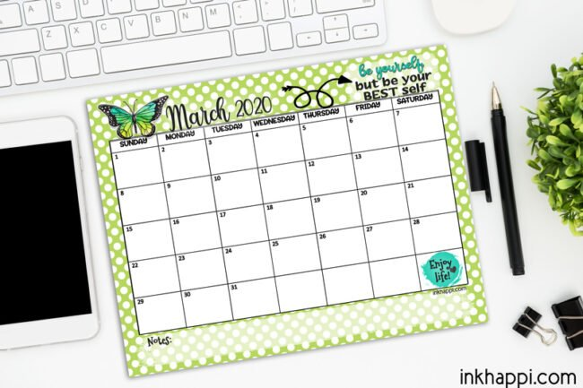March 2020 Calendar from inkhappi #freeprintable #calendar