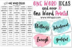 One word ideas and over 70 prints. Let's get motivated! #freeprintables #oneword