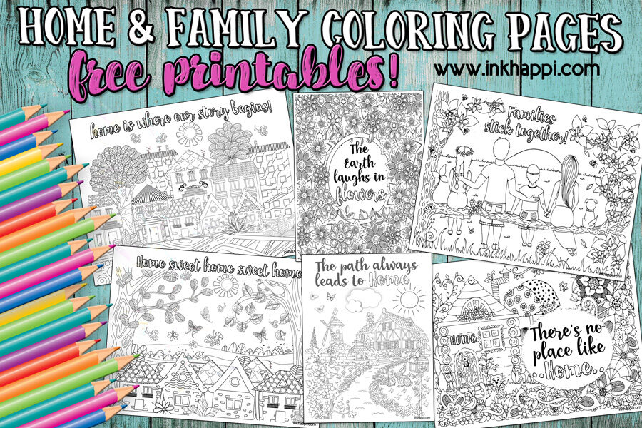 Home & Family Coloring Pages. Relax and Enjoy!