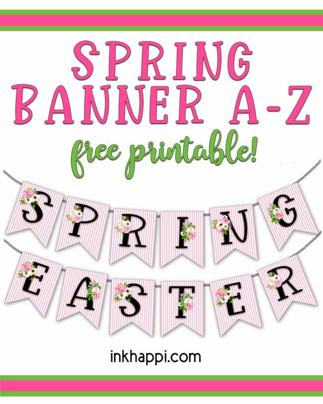 Printable Spring banner A-Z #freeprintable #spring #banner
