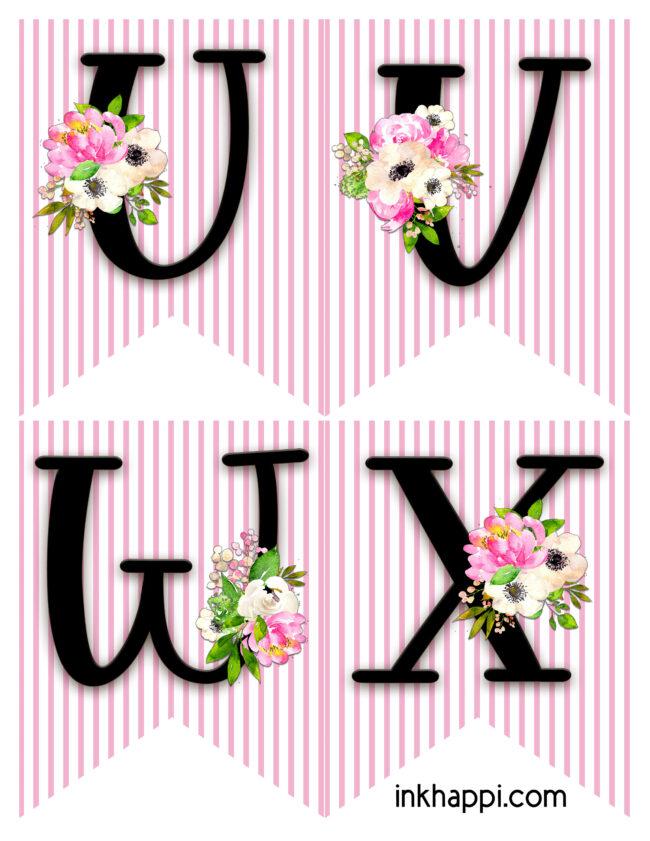 alphabet banner u- x