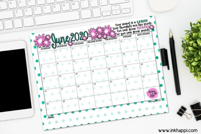 June 2020 Calendar and print about flowers #freeprintable #calendar #quotes #motivationalthought