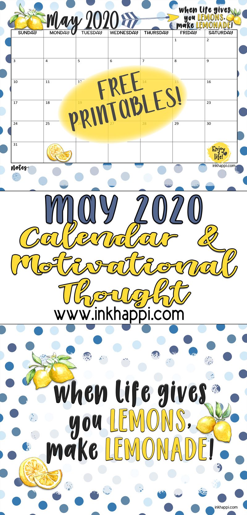 May 2020 calendar and a motivational thought #calendar #freeprintable #makelemonade