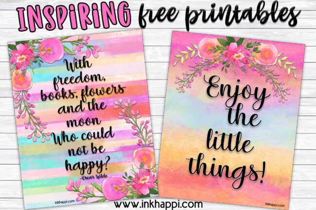 Inspiring quotes on a pretty background with watercolor flowers. #freeprintables #quotes #inspiration