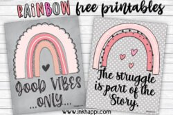 Rainbow free printables of encouragement #freeprintable #rainbowart #encouraging