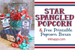 Sweet popcorn recipe and patriotic printable popcorn boxes. #patriotic #fourthofjuly #freeprintable #sweetpopcornrecipe