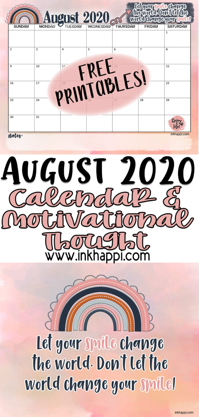 August 2020 calendar and a thought about smiling #freeprintable #calendar #smiling