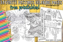 Favorite pastimes coloring pages. Free printables! #freeprintables #coloringpages