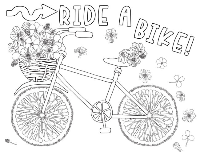 Ride a bike coloring page free printable.#freeprintable #coloring page
