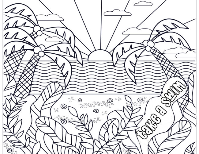 Ocean sunset coloring page free printable #freeprintable #coloring page