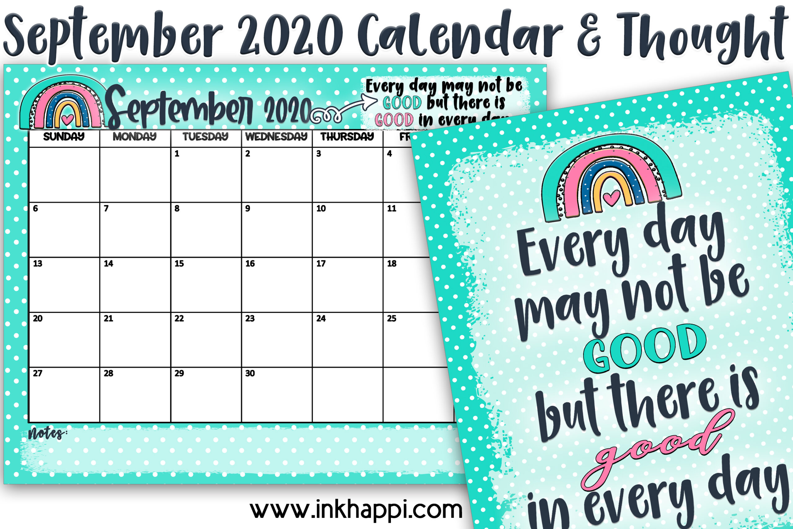 September 2020 Calendar and a thought about making our days better. Free printables! #calendar #freeprintables
