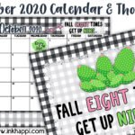 October 2020 Calendar and a motivational thought